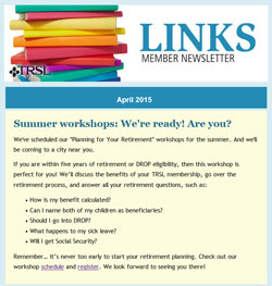 LINKS member newsletter April 2015 edition featuring workshop article